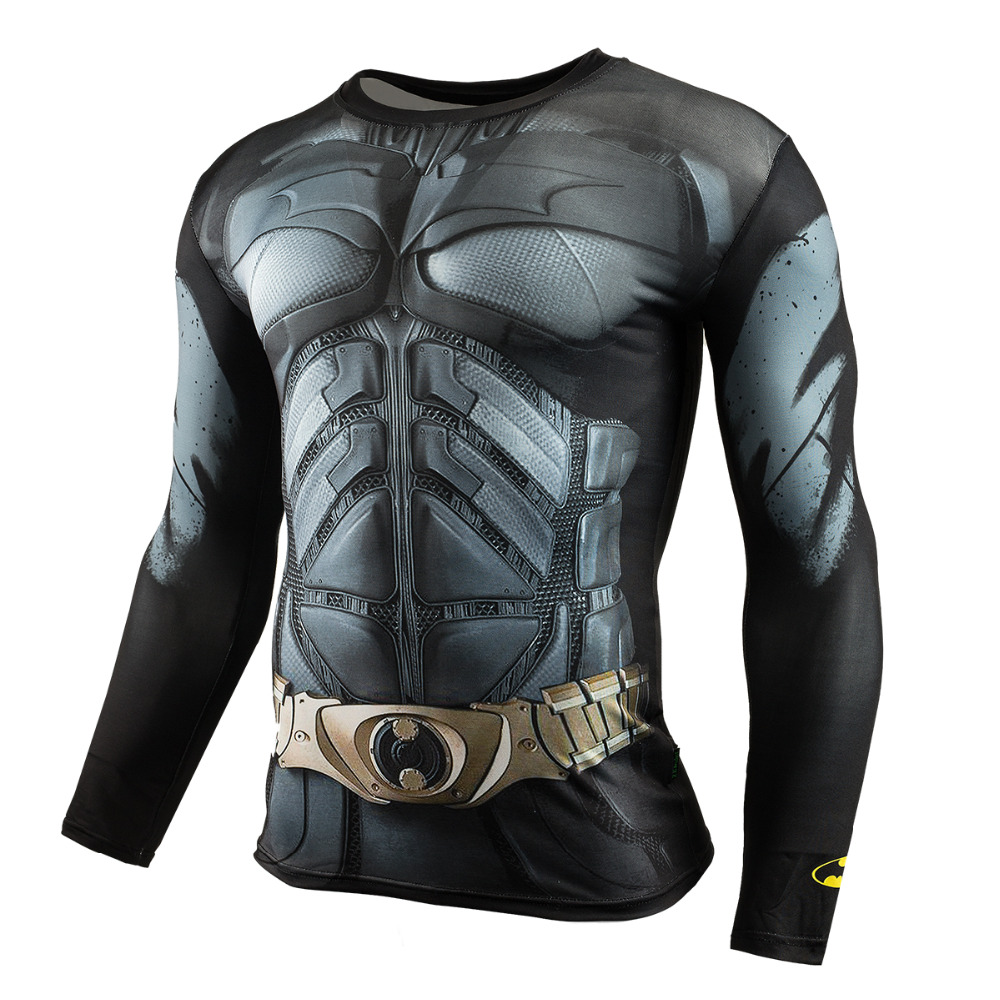 Männer Crossfit Langarm Shirt Kompression 3D Anime Superheld Superman Captain America T-shirt Strumpfhosen Fitness Männer Tops & Tees