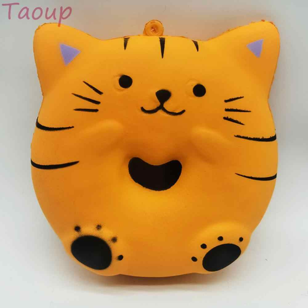 Taoup 1pc Cat Donut Squishy Toys Slow Soft Boost Decompression Toy Happy Birthday Party Decor for Home Fake Food Donut Party DIY