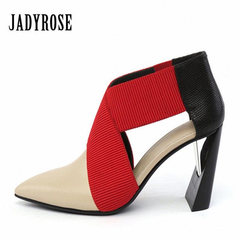 Jady Rose 2019 De Mode Rouge Bout Pointu Femmes Pompes Étrange Talon De Mariage Robe Élastique Bande Chaussures Femme À Talons Hauts Valentine chaussures