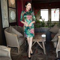 Vintage Chińskich damska Mini Nowość Silk Satin Qipao Cheongsam Dress kwiat Klasyczne Vestido Rozmiar S M L XL XXL XXXL 1457317