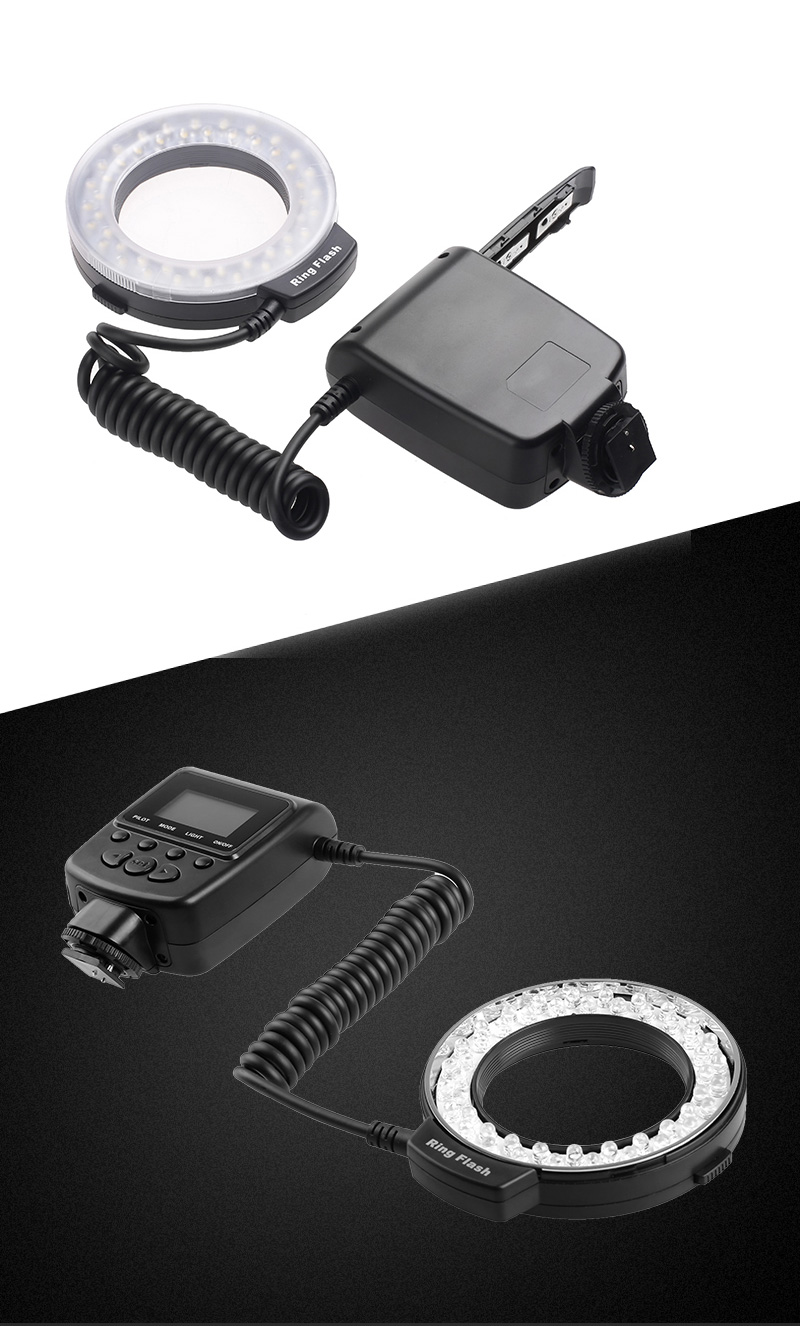 Travor RF 550D LED Macro Ring Flash light with 8 adapter ring For Nikon Canon Panasonic Camera 25