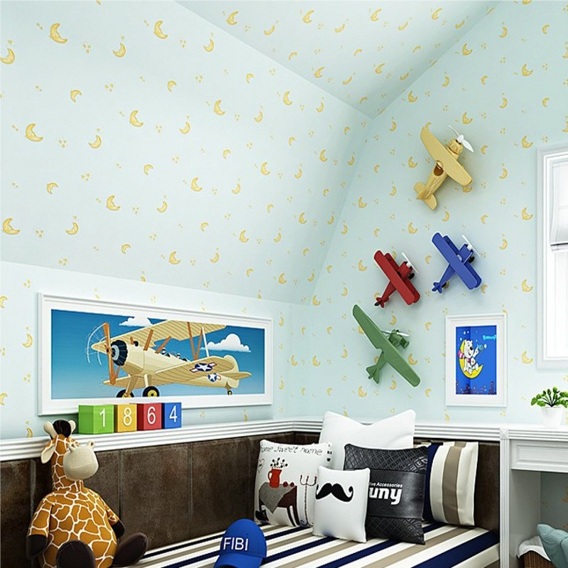 Free Shipping living room Children room environmental non-woven wallpaper stars moon boy girl bedroom wallpaper beibehang wallpaper high grade environmental protection non woven wallpaper girl boy room room striped wall paper car children