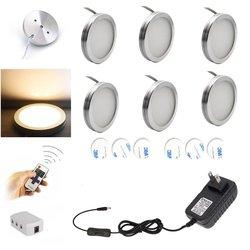 AIBOO LED pod szafką oświetlenie 6 sztuk LED Puck Llights z bezprzewodowym RF zdalnego ściemniania pod ladą  oświetlenie półki meble w Oświetlenie mebli od Lampy i oświetlenie na
