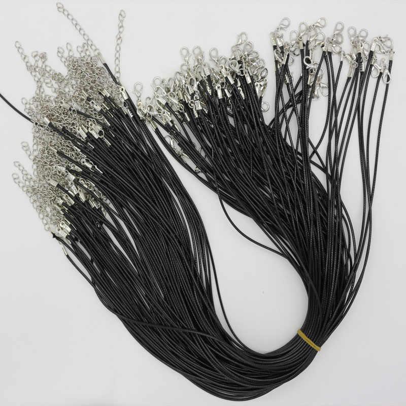 1 sztuk czarny skręcony pleciony sznur 2mm czarny PU Leather Cord naszyjnik łańcuch srebrna zapinka String liny mężczyźni kobiety DIY łańcuch biżuteria