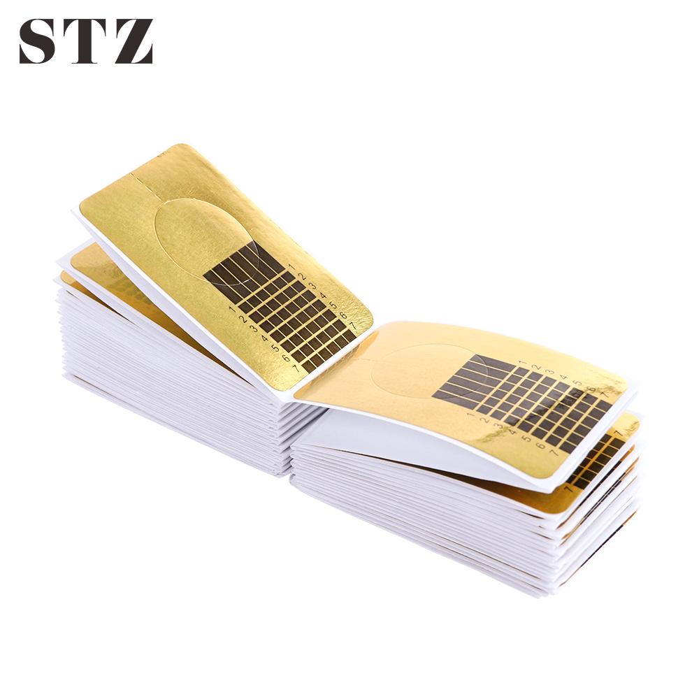 STZ 100pcs/Set Nail Art Guide Form Extension Stickers Acrylic French Tips Gel Polishing Nails Manicure Accessories Tools NJ070