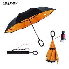 Ldajmw Горячая двойной Слои обратный зонтик открыть/закрыть строгих C в форме свободной рукой Графический ветрозащитный длинный автомобиль зонтик