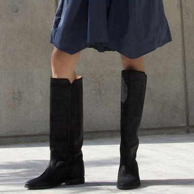 Avrupa Tasarımcı bayan Botları Sıkıntılı Deri Düz Uzun Botlar Yüksekliği Artan Düz Diz Botları Kama Ayakkabı