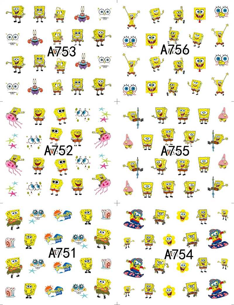 12 шт./партия наклейки для дизайна ногтей Губка Боб украшения для ногтей аксессуары инструменты для маникюра красоты мультяшный стиль