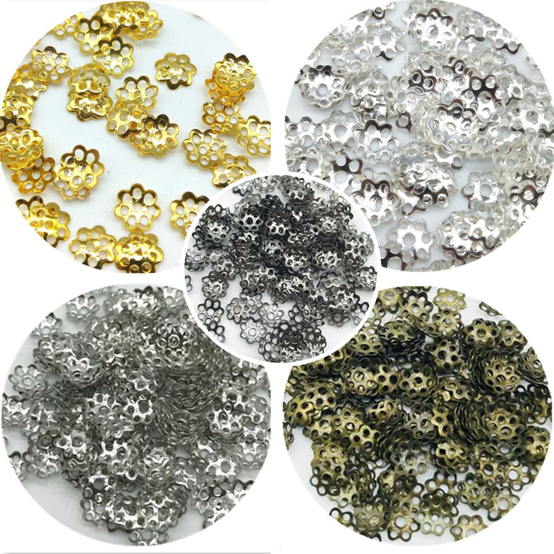 Jewelry Findings Necklace-Accessories Beads Flower-Hat DIY Wholesale For 6mm 100pcs/Lot