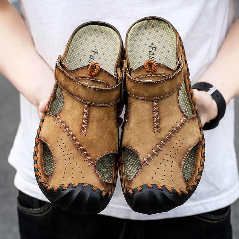 2019 Yeni rahat ayakkabılar Hakiki Deri Erkek Sandalet Yaz erkek ayakkabısı plaj sandaletleri Erkek Moda Açık Erkekler Sandalet Büyük Boy 46