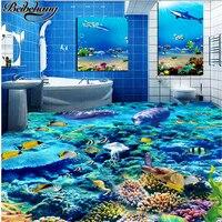 Beibehang Personalizado 3D Estéreo Piso Sexy Mundo Submarino Dolphin Aseo Baño Dormitorio Piso 3D papel pintado Pintura Decorativa