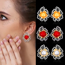 Siscathy 2019 Trendy Blossom Flower Simulated Pearl Earrings for Women Collection Stud Wedding CZ Indian Jewelry