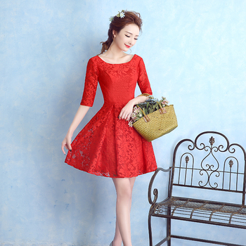 New Short Bridesmaid Dresses with Half Sleeves Elegant Red Lace Bride Gown Ball Prom Party Homecoming/Graduation Formal Dress 2016 new lace evening dresses with cap sleeve flower red bride gown ball prom party homecoming graduation princess formal dress