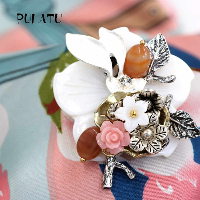 Pulatu Baru Bros Batu Shell Alami Bunga Karang Buatan Tangan Bros Pins Perak Daun Alami Batu Bros Untuk Anak Perempuan
