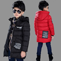 Детская одежда 2017 зима ребенок ватные куртки средней длины верхней одежды мальчик хлопка мягкой твердые куртка утолщение пальто