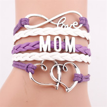 2019 Handmade Antique Silver Infinity Mom Letters Heart Charm Leather Bracelets Jewelry Bangles For Women