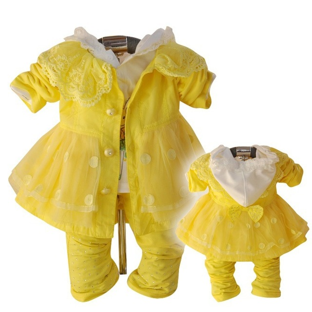 Anlencool 2017 New Spring and Autumn casual three-piece  Dress Suits free shipping baby girl dress suit baby girls clothing sets