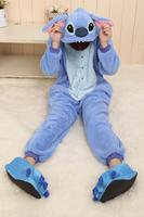 2015 Flannel Humorous Animal Blue Stitch Onesie Adult Unisex Pajams Cosplay Costume Pajamas All In One