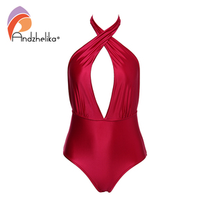 Image 5 - Andzhelika 여성 새로운 원피스 섹시한 홀터넥 수영복 브라질 빈티지 수영복 여름 바디 슈트 수영복 착용 두 가지 방법