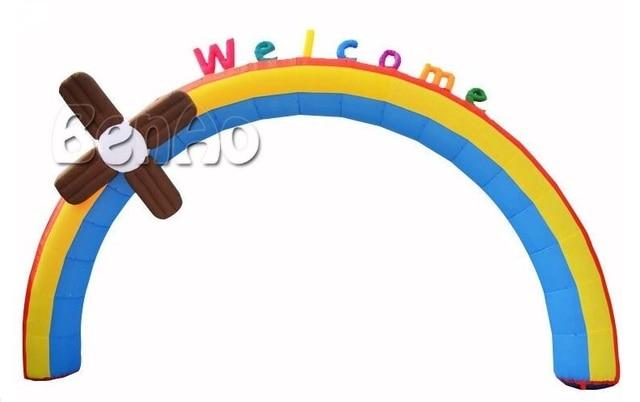 R177 Бесплатная доставка Надувные Мельница Радуга Арки Арки Для Детский День Рождения С Воздуходувки