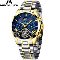 MEGALITH роскошные часы мужские спортивные автоматические механические часы с лилтариусом водонепроницаемые часы с датой лучший бренд мужски...