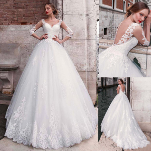 Image 1 - Chic Tulle Jewel Neckline A line Wedding Dress With Lace Appliques 3/4 Sleeves Bridal Gowns Illusion Back robe de mariee