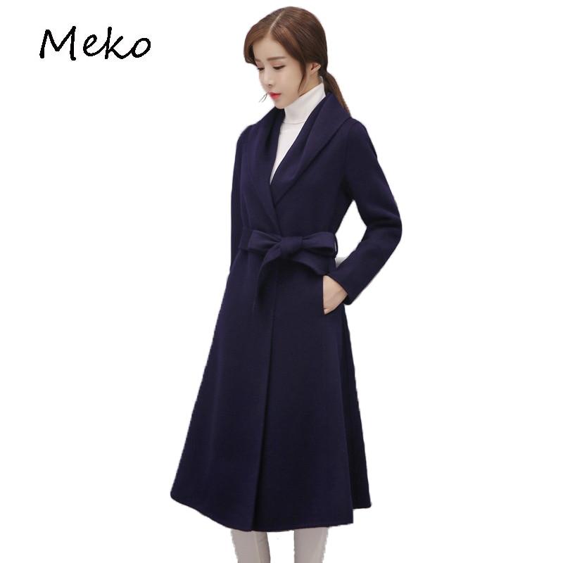 Style Longue Navy pourpre Vestes Grand Femmes Blue Cw28 Nouveau Et Hiver Épaississement 2017 Mode Cordon Slim Laine Manteau Revers De Automne OU1qZ1R