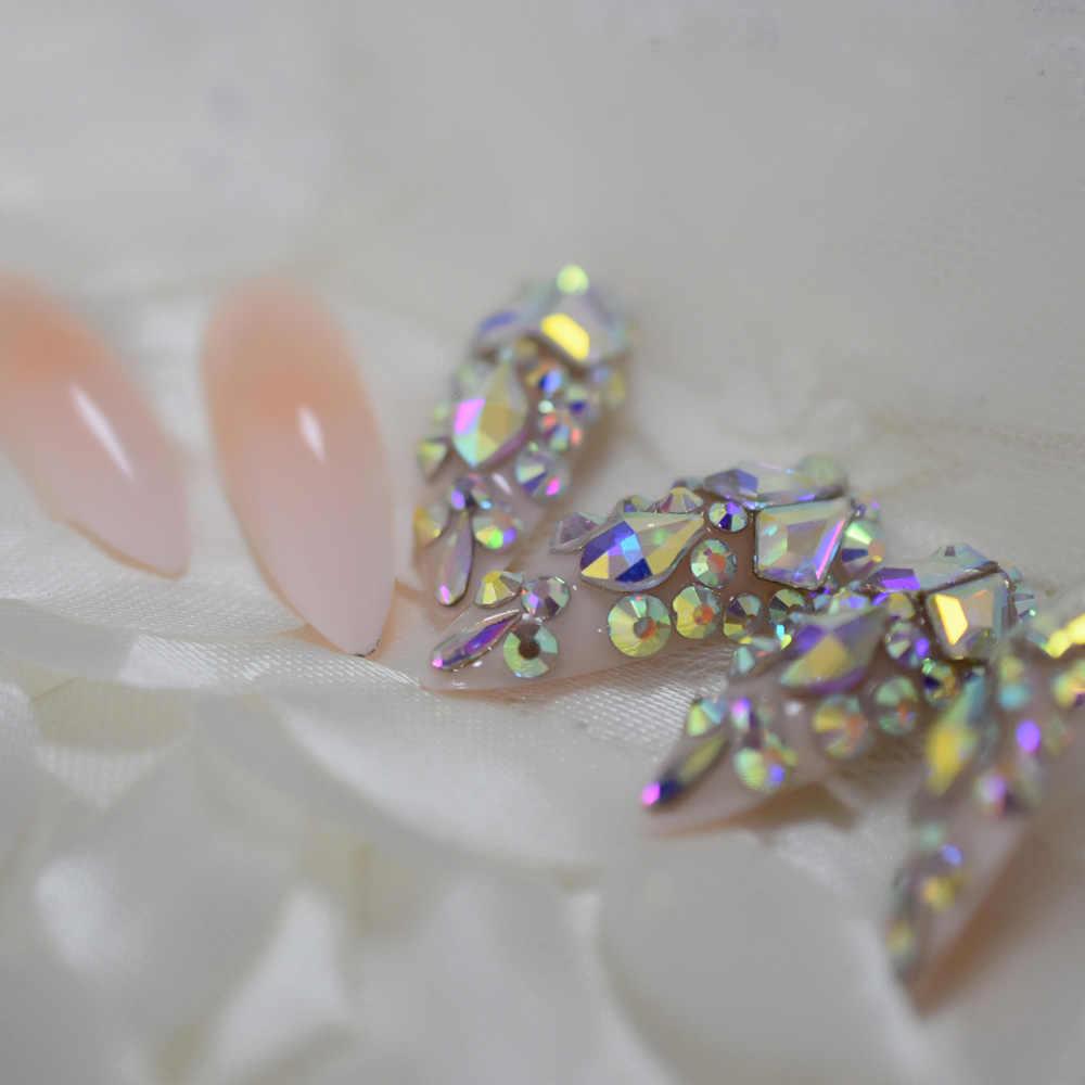 Luxo falso unhas designer extra longo ombre francês jóias pré-projetado unhas natural stiletto ab pedras dicas de decoração