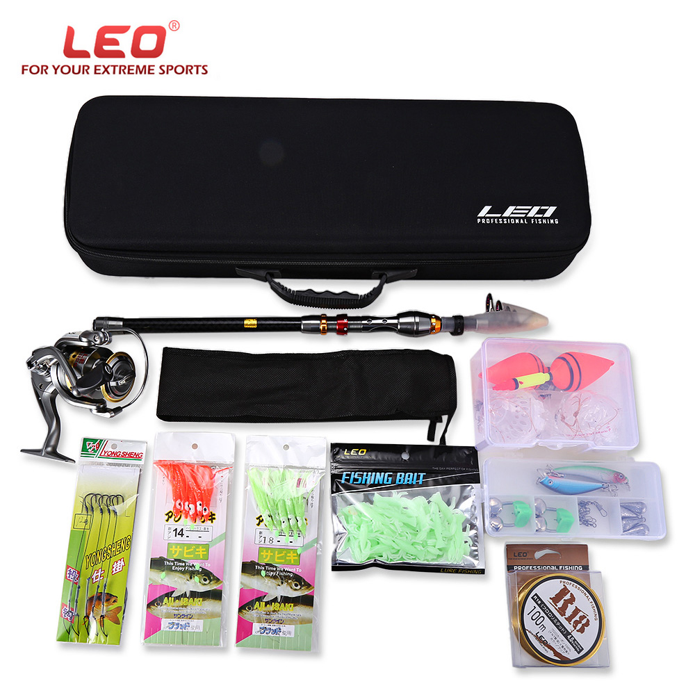 LEO 2.1/2.4/2.7/3/3.6M Telescopic Fishing Rod Reel Combo Full Kit Spinning Reel Pole Set with Fish Line Lures Hooks Bag Case купить