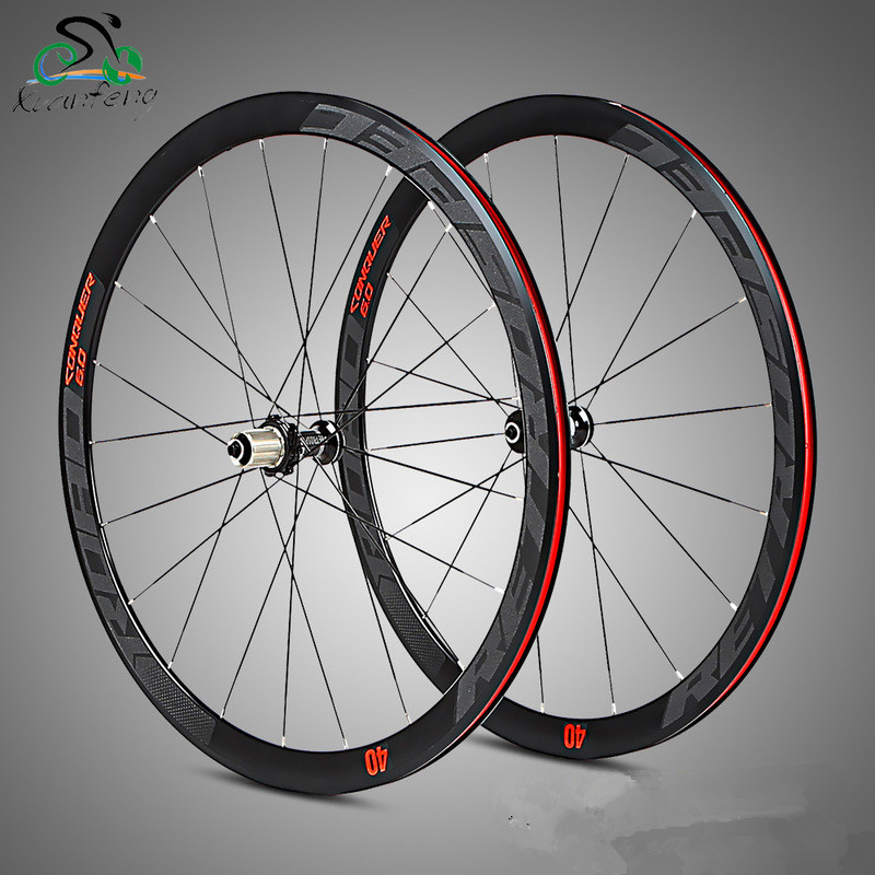 Road bike wheel set 700C 4 sealed bearing wheelset super light alloy road bicycle flat spokes racing 40mm rims with anti cursor