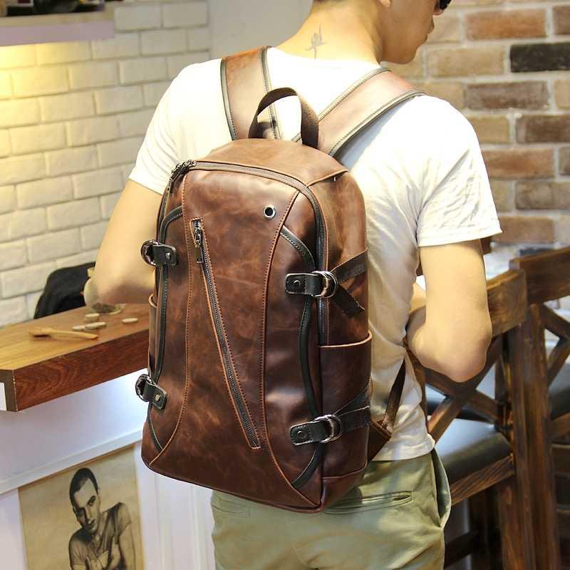 تيدوج كريزي هورس حقيبة كتف جلدية ريترو قديم محمول حقيبة ظهر عصرية