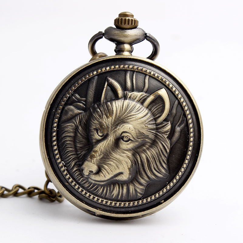 Bronze Retro Arctic Wolf Pattern Quartz Pocket Watch With Necklace FOB Chain Fashion Steampunk men watch gift Reloj de bolsillo black star wars galactic empire badge pattern quartz pocket watch with key chain male female clock reloj de bolsillo masculino