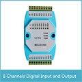 8-канальный цифровой вход и выход, изолированный модуль 8DI / 8DO RS485 MODBUS протокол связи RS485 к Ethernet
