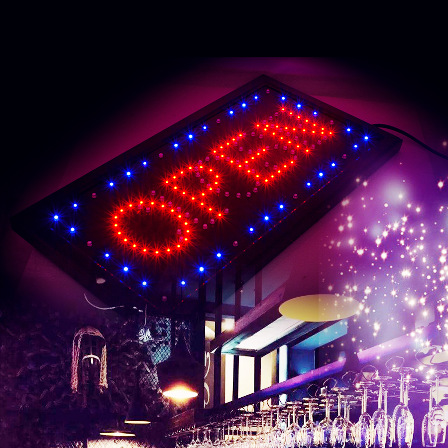 Bright LED 2 in1 Open & Closed Store Shop Business Sign 9.8*20.47 Display neon