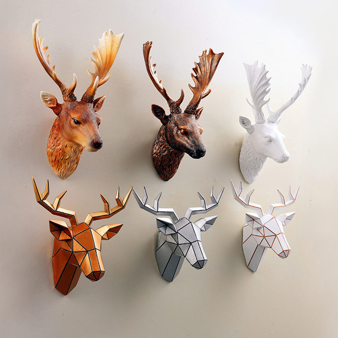 American Creative simulation deer head hanging living room backdrop animal head ornaments retro stereoscopic mural resin