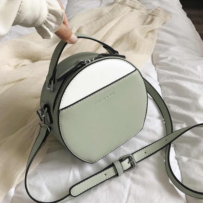 Rodada da Cor do Contraste Mulheres Bolsa 2019 Novo Saco Do Mensageiro Fresco Menina Famosa Marca Designer Crossbody Bolsa de Ombro Pequena Sacola