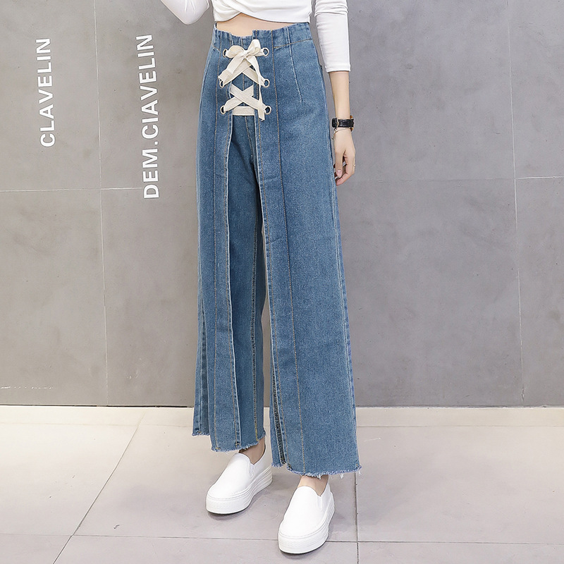 New Fashion Women Wide Leg Jeans 2020 High Waist  Loose Denim Pants Harajuku Lace Up Hot Pants