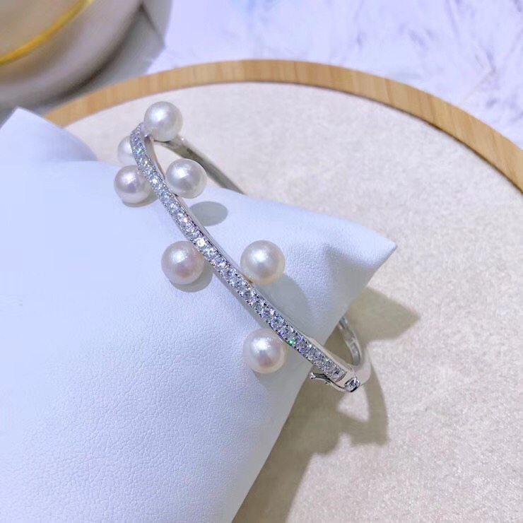 2 color 925 Sterling Silver Pearl Bracelet Mountings Fashion ADJUSTABLE Bangle Findings Jewelry Parts Fittings Accessories