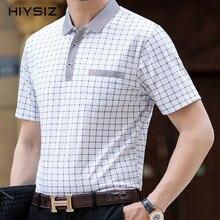 HIYSIZ T-Shirt Men 2019 Cotton Classic Plaid Turn-down Collar Streetwear Casual With Pocket British Style T Shirt Summer ST214