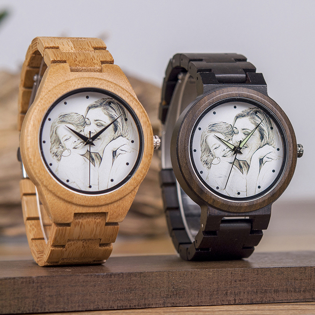 BOBO BIRD Lovers Custom Picture Bamboo Wooden Watches Men Ladies Quartz Wristwatch Engrave logo for Women as Gift in Wood box