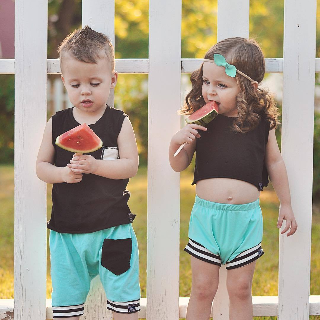 Newborn Twin Baby Boys Girls Summer Clothing Set Brother
