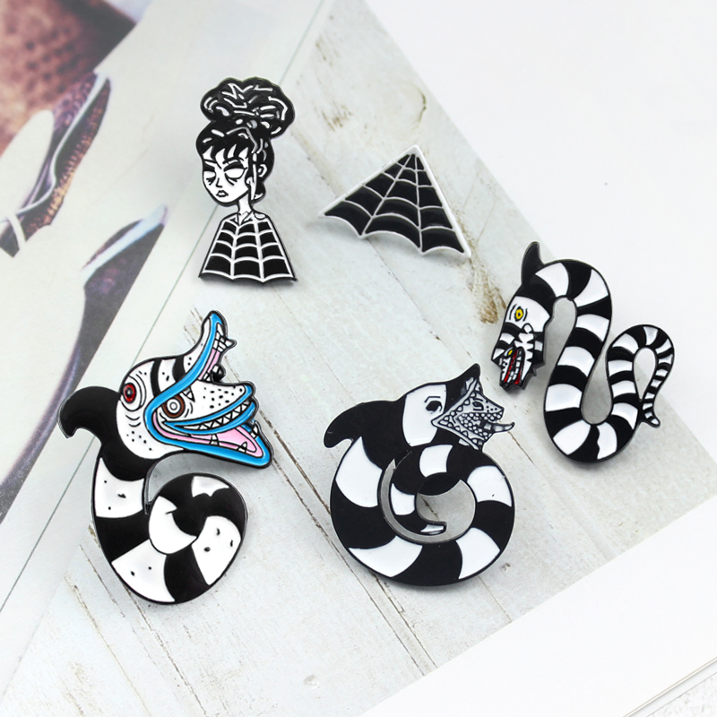 Snake Brooch Constellation Snake Beetlejuice Sandworm Lydia Deets Spider Web Enamel Pin Horror Movie Badge Halloween Jewelry Brooches Aliexpress
