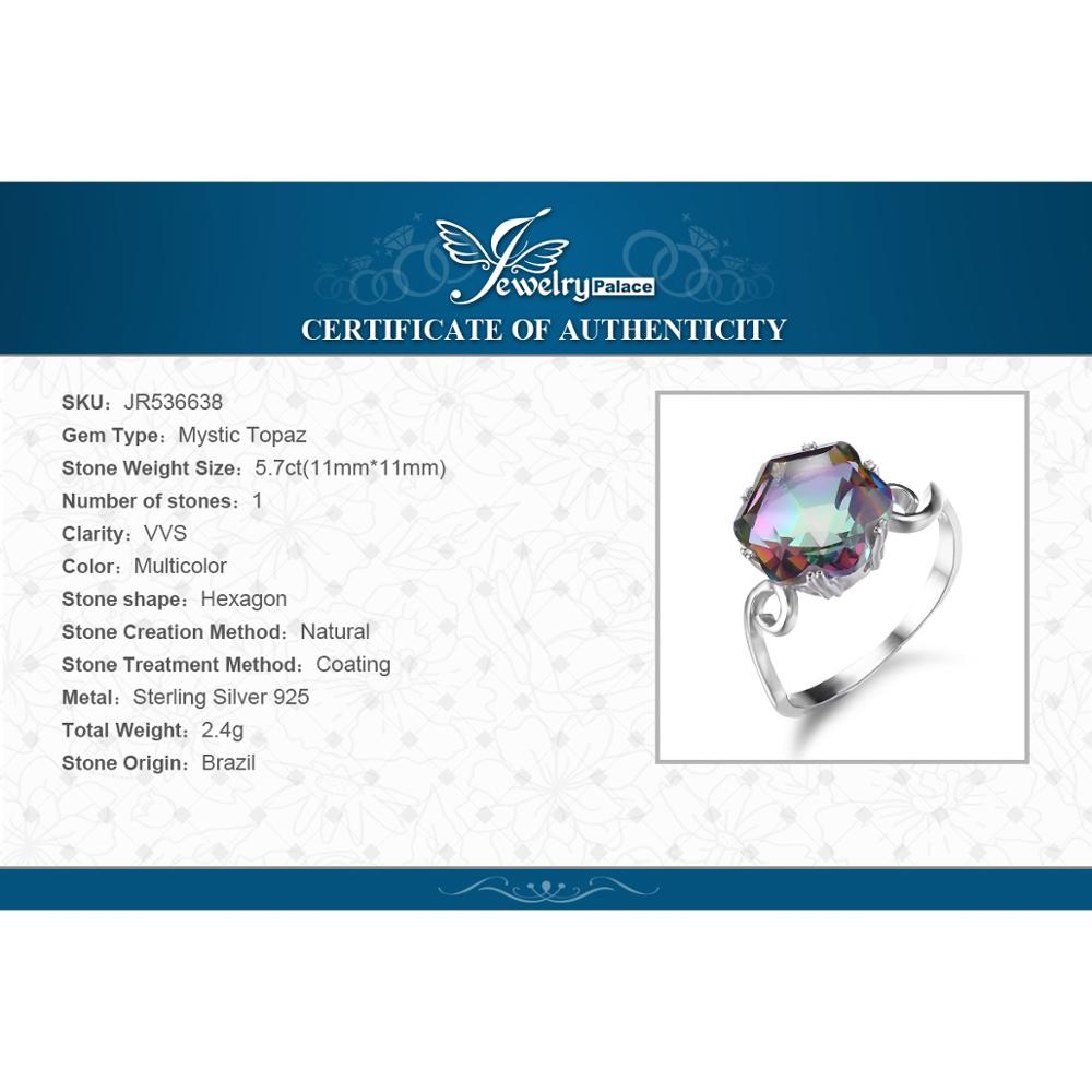 Купить с кэшбэком JewPalace 4ct Genuine Rainbow Mystic Topaz Ring 925 Sterling Silver Rings for Women Engagement Ring Silver 925 Gemstones Jewelry