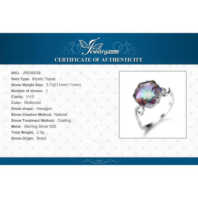 JewPalace 4ct Genuine Rainbow Mystic Topaz Ring 925 Sterling Silver Rings for Women Engagement Ring Silver 925 Gemstones Jewelry 5