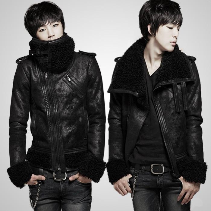 2017 motorcycle leather clothing jacket male fur collar men's clothing plus velvet vintage short jacket slim singer costumes