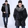 Men's Fashion Imitation Faux Rabbit  Fur Plus Size Full Sleeve Single Breasted Hooded Long Jacket Coat