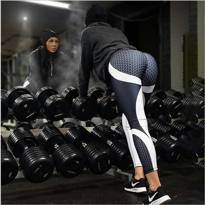 Yoga Pants Honeycomb Carbon Leggings Women Fitness Wear Workout Sports Running Leggings Push Up Gym Elastic Slim Pants 4