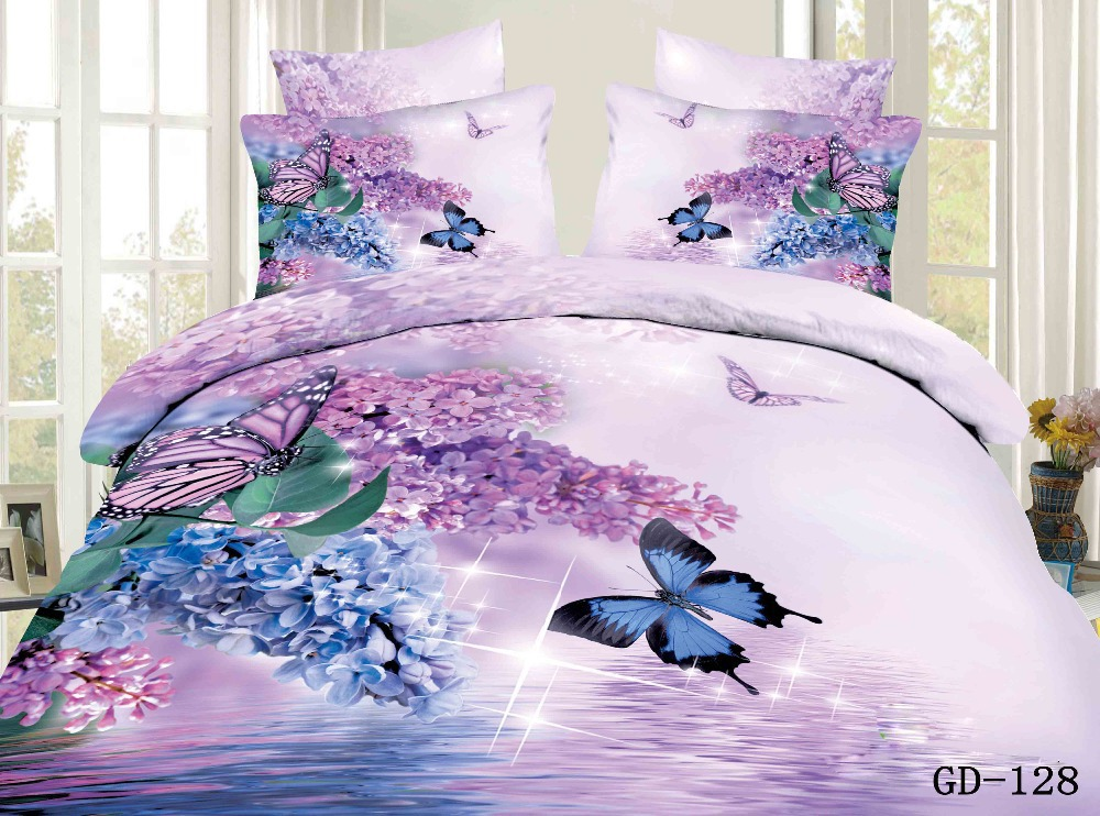 3d Pink Blue Floral Butterfly California King Bedding Set