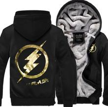New Arrival The Flash Anime Justice League men sweatshirts 2016 winter thicken man hooded brand-clothing men hoodie plus size