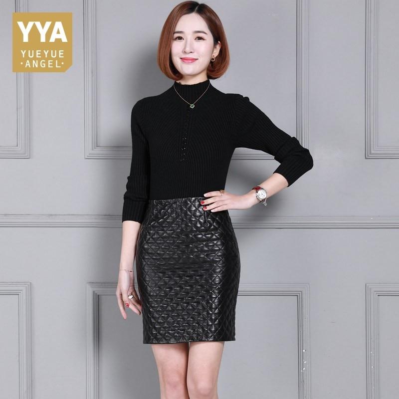 Elegant Office Lady Sheepskin Wrap Skirt With High Waist Plaid Pattern Chic Solid Skirts Women Winter Zipper Real Leather Skirt bcbgeneration women s faux wrap skirt